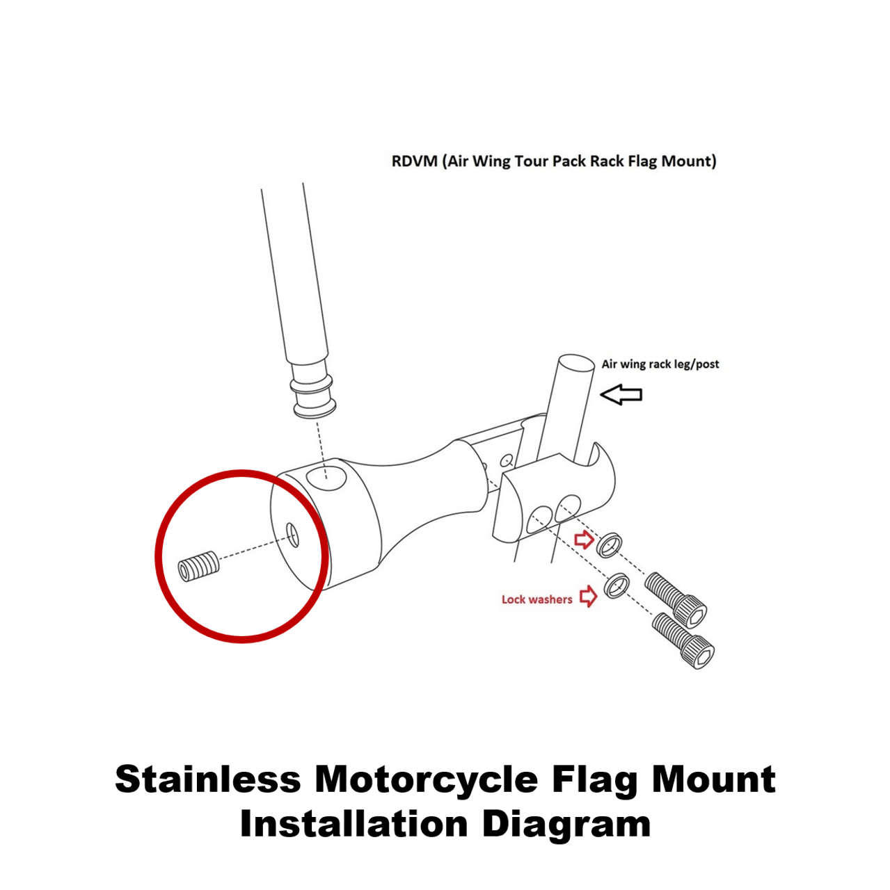 Extended mount (RDVM) installation diagram (exploded view)