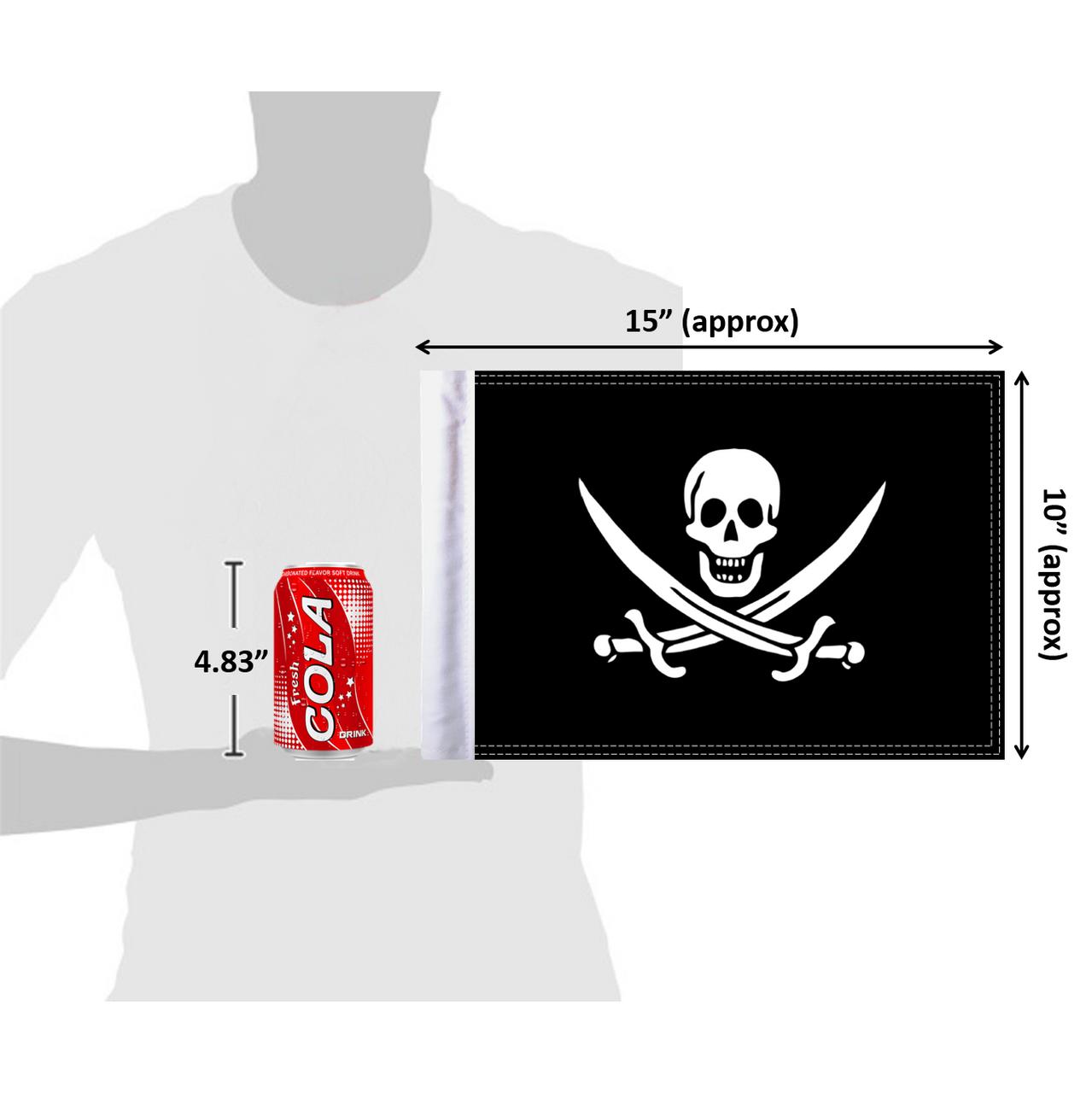 "10""x15"" Calico Jack Pirate flag (size comparison view)"