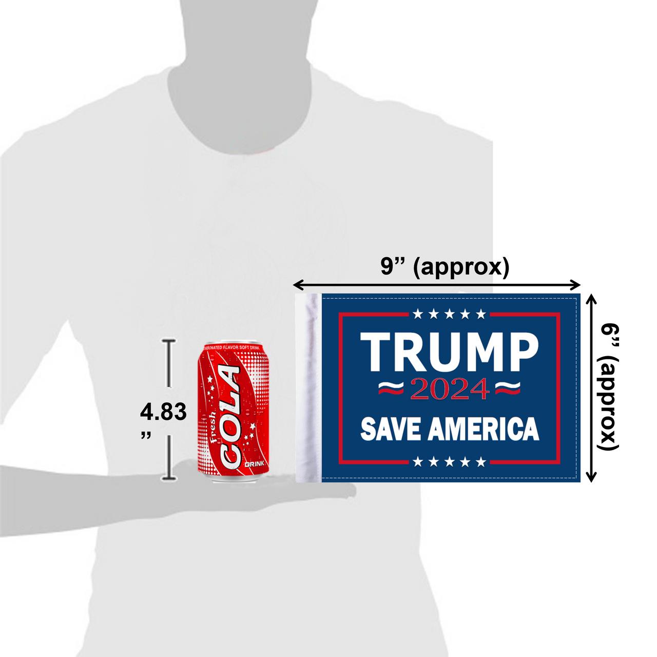 """6""""x9"""" Trump 2024 Save America flag (size comparison view)"""