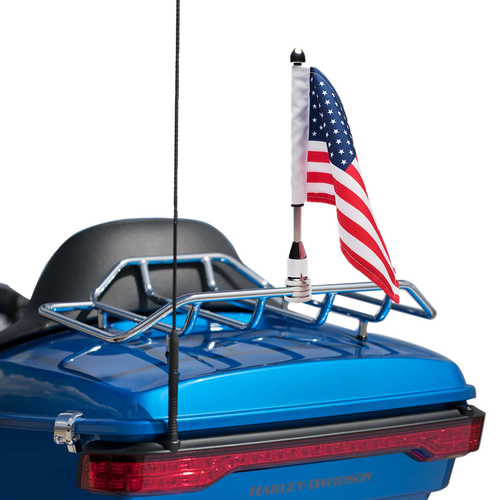 """#RFM-FXD3  1/2"""" Fixed mount with 9"""" pole, standard cone topper and 6""""x9"""" USA flag on Harley Tour Pak Rack (rack not included)"""