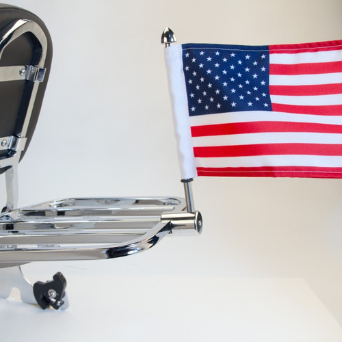 "#RFM-SQ with 6""x9"" USA highway flag mounted on Harley square sport rack (rack not included)"