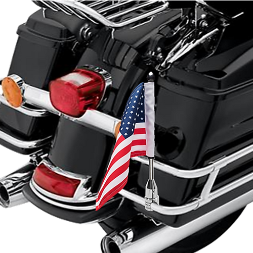 "#RFM-FXD1 with 6""x9"" USA highway flag mounted on Harley saddlebag bar (not included)"