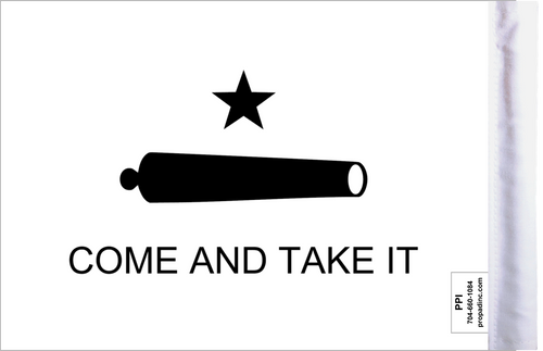 """6""""x9"""" Highway flag:  Come and Take It (BACK)"""