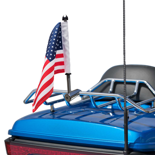 #RFM-RDHB12 with 6x9 USA flag on standard Harley tour pack rack (rack not included)