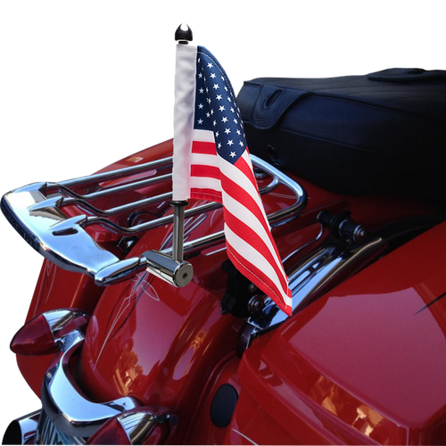 "#RFM-RDHB12 extended 1/2"" flag mount on Detachable Harley Air Wing Rack side rail (rack not included)"