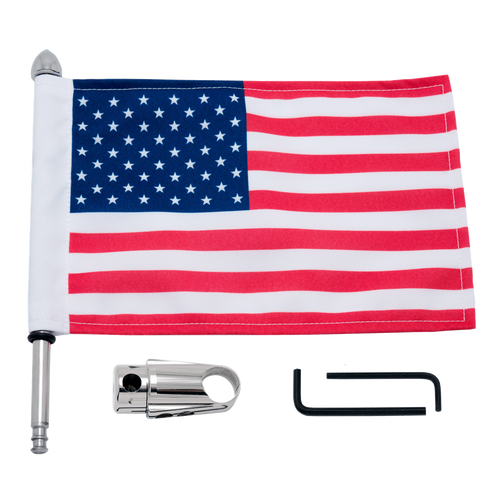 "#RFM-RDSB765IN with 9"" pole, standard cone topper and 6""x9"" USA flag (components)"
