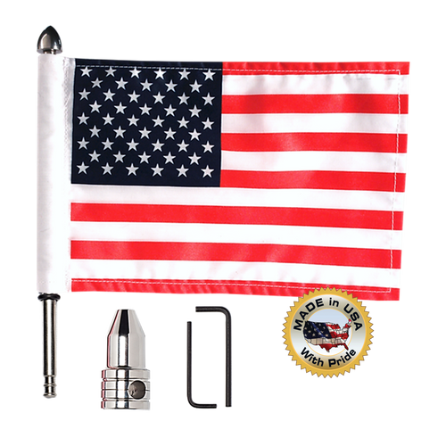 "Fixed, upright flag mount with 9"" pole, standard cone topper & 6""x9"" highway flag"