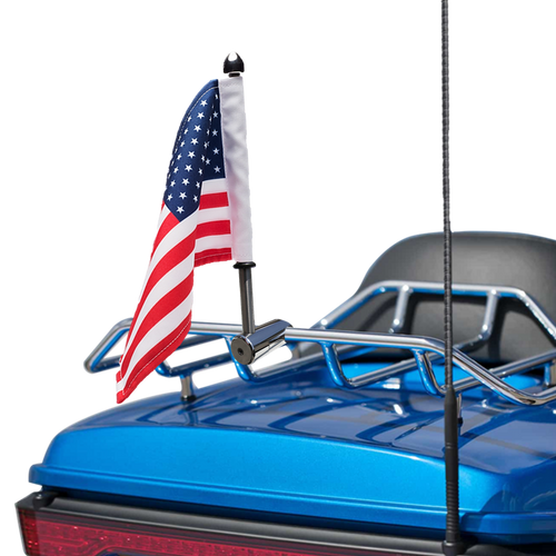 "1/2"" Fixed, extended horizontal mount with 9"" pole, standard cone topper and 6""x9"" USA flag on Harley Tour Pack Rack (rack not included)"