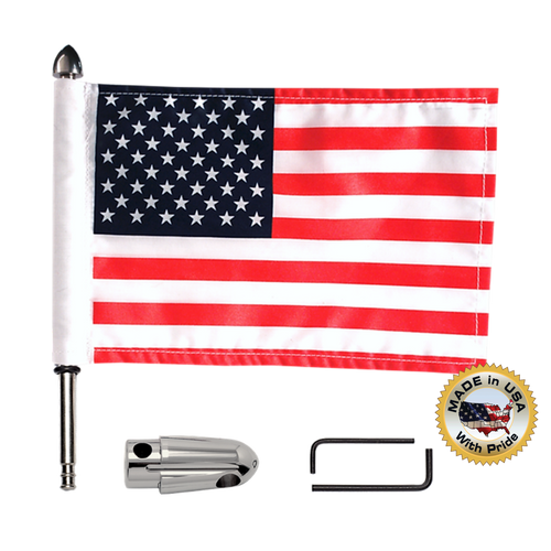 """Fixed, extended horizontal Indian flag mount with 9"""" pole, standard cone topper & 6""""x9"""" highway flag"""