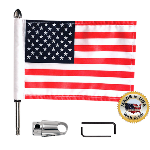 ".765"" (19mm) extended mount with 9"" pole, standard cone topper and 6""x9"" USA flag (components)"