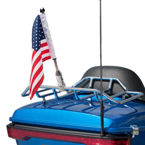 "Folding mount with 9"" pole, standard cone topper and 6""x9"" USA flag on Harley Tour Pack Rack (rack not included)"