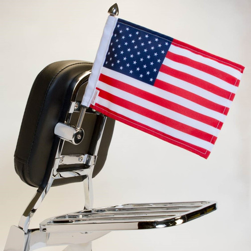 """.5"""" - .56"""" square, vertical mount with 9"""" pole, standard cone topper and 6""""x9"""" USA flag on Harley sissy bar"""