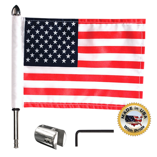 ".5"" - .56"" square, vertical mount with 9"" pole, standard cone topper and 6""x9"" USA flag (components)"