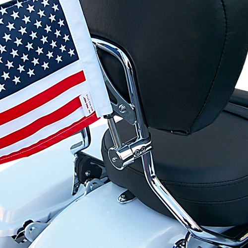 "5/8"" extended sissy bar flag mount with 9"" pole, standard cone topper and 6""x9"" USA flag on Harley sissy bar"