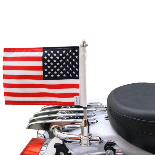 "7/8"" split, horizontal mount with 9"" pole, standard cone topper and 6""x9"" USA flag on Harley Stealth Rack (rack not included)"