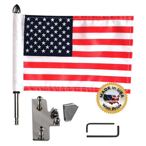 "License plate flag mount with 9"" pole, standard cone topper & 6""x9"" highway flag (components)"
