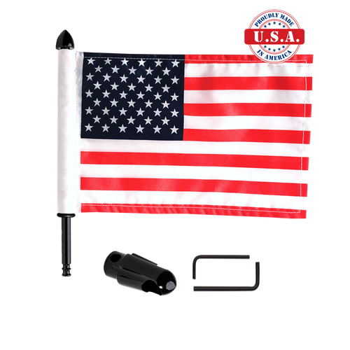 "Fixed, extended horizontal Indian rack flag mount with 9"" pole, standard cone topper & 6""x9"" highway flag"