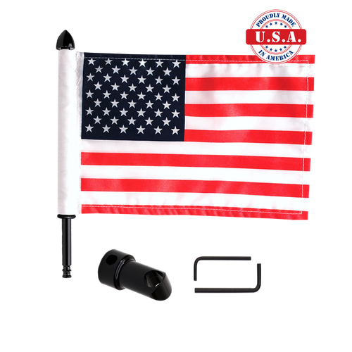 "Black 5/8"" sissy bar flag mount with 9"" pole, standard cone topper & 6""x9"" highway flag (components)"