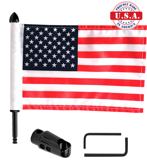 """Black Teflon coated .765"""" (19mm) extended mount with 9"""" pole, standard cone topper and 6""""x9"""" USA flag (components)"""