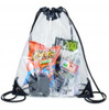 Clear Vinyl Drawstring Tote Bag With Black Trim