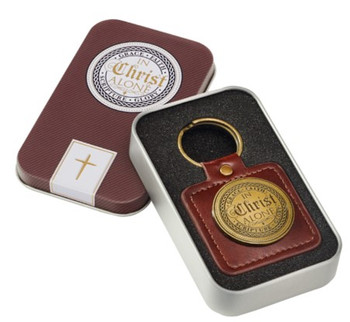 In Christ Alone Leather Keychain