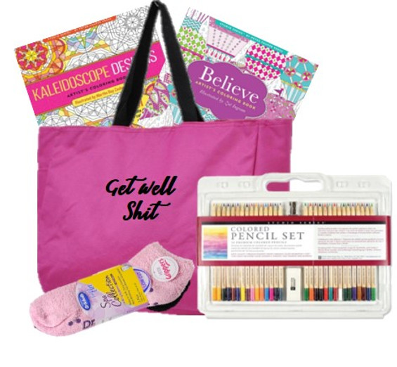 adult coloring book gift basket