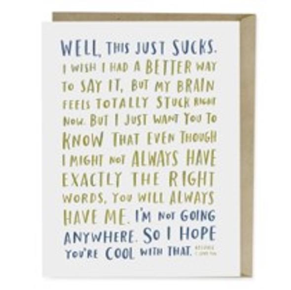 Awkward Sympathy Card This Sucks