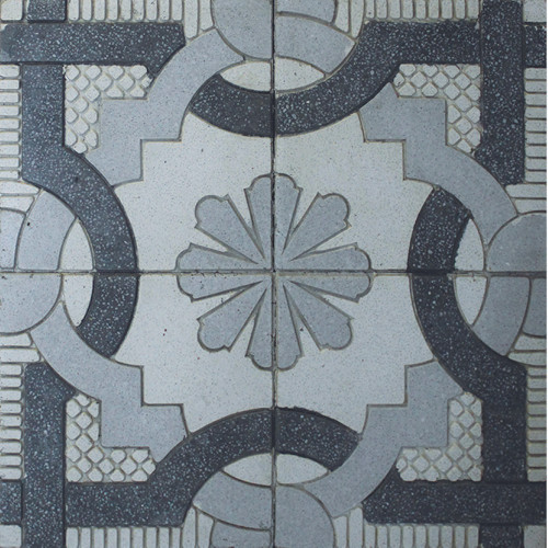 Black, White & Light Grey Grooved Pattern Tile - M²