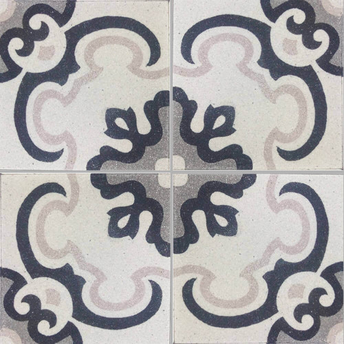 White, Light Grey & Black Polished Trevisano Tile - M²