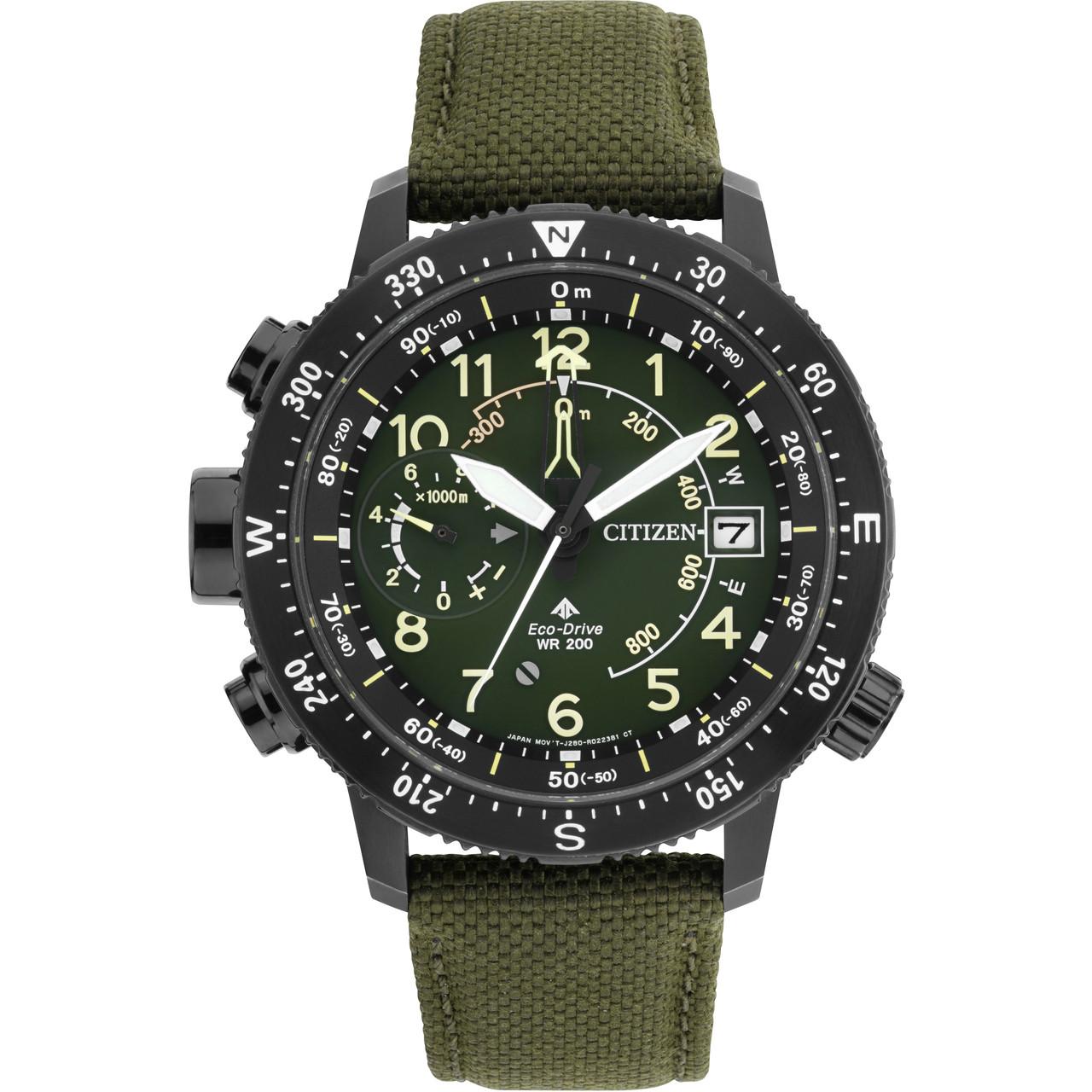 Citizen Eco Drive Promaster Altichron Men S Green Dial Nylon Strap Watch Bn4045 12x