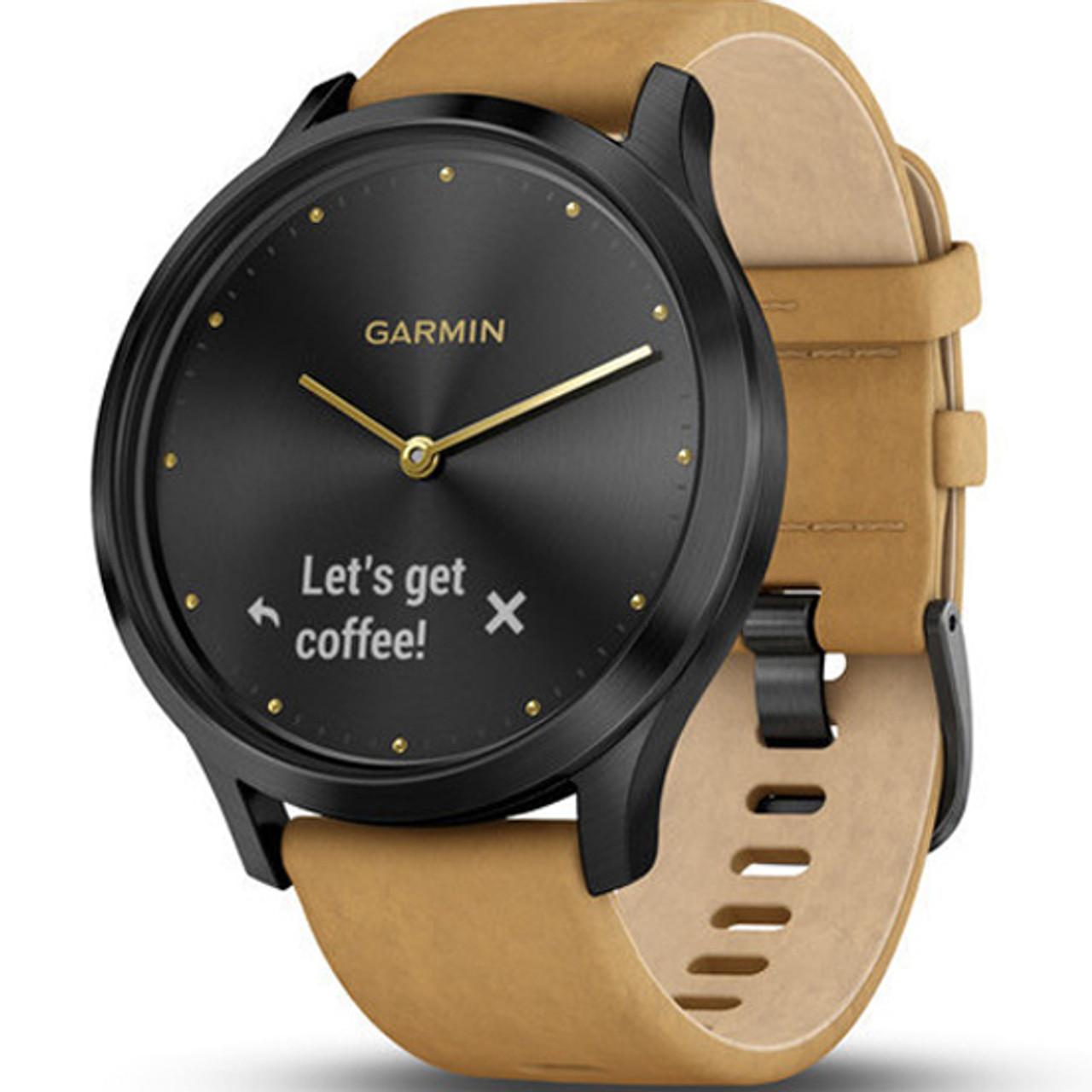 Garmin Vivomove HR Tan Leather Strap Hybrid Smartwatch With Free Add-on  Strap 010-01850-00