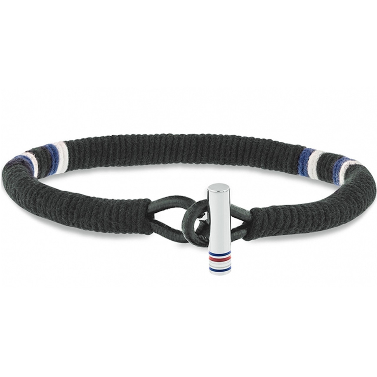 742dfaeabf77d Tommy Hilfiger Men's Casual Core Wrapped Cord Black Fabric Bracelet 2701069