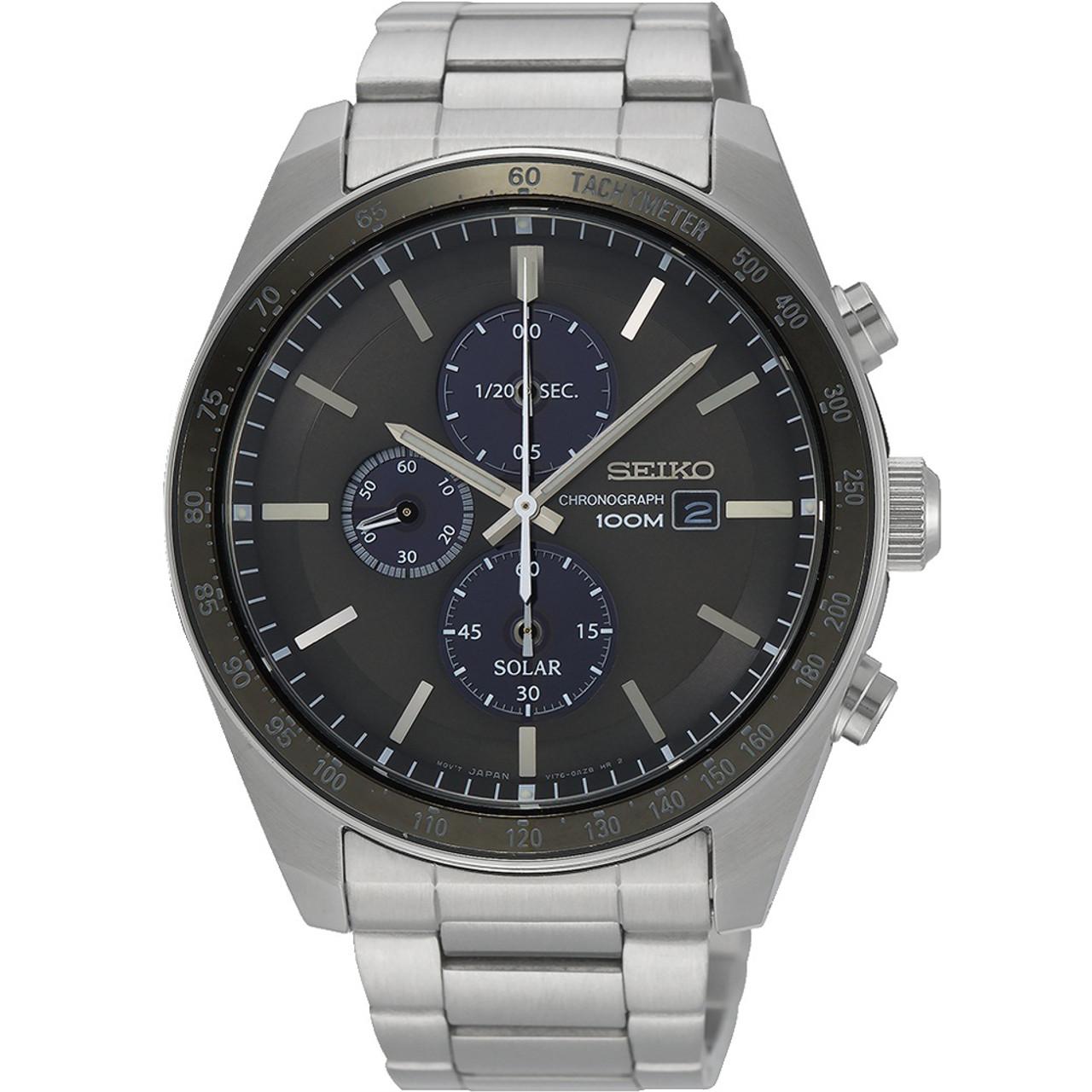 eef848e3e Seiko Men's Tachymeter Chronograph Solar Grey Dial Silver Bracelet Watch  SSC715P1