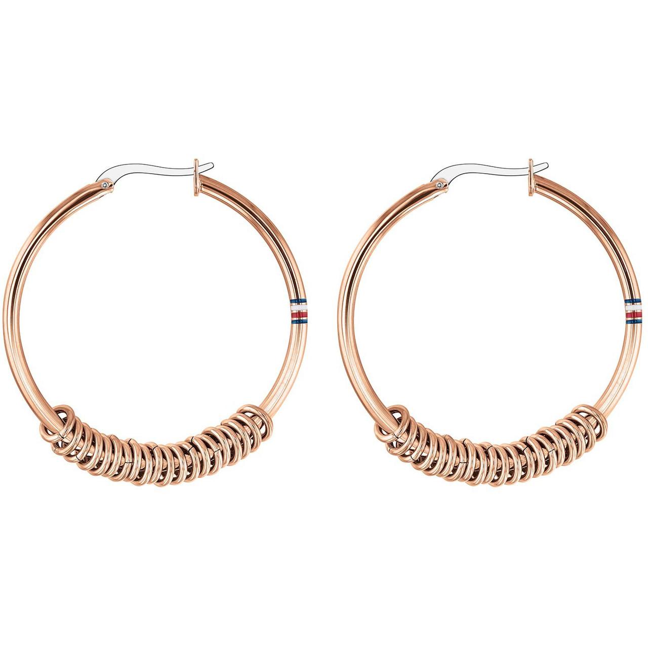 e6b13f8aab51d Tommy Hilfiger Ladies Rose Gold Multi Logo Hoop Earrings 2780216