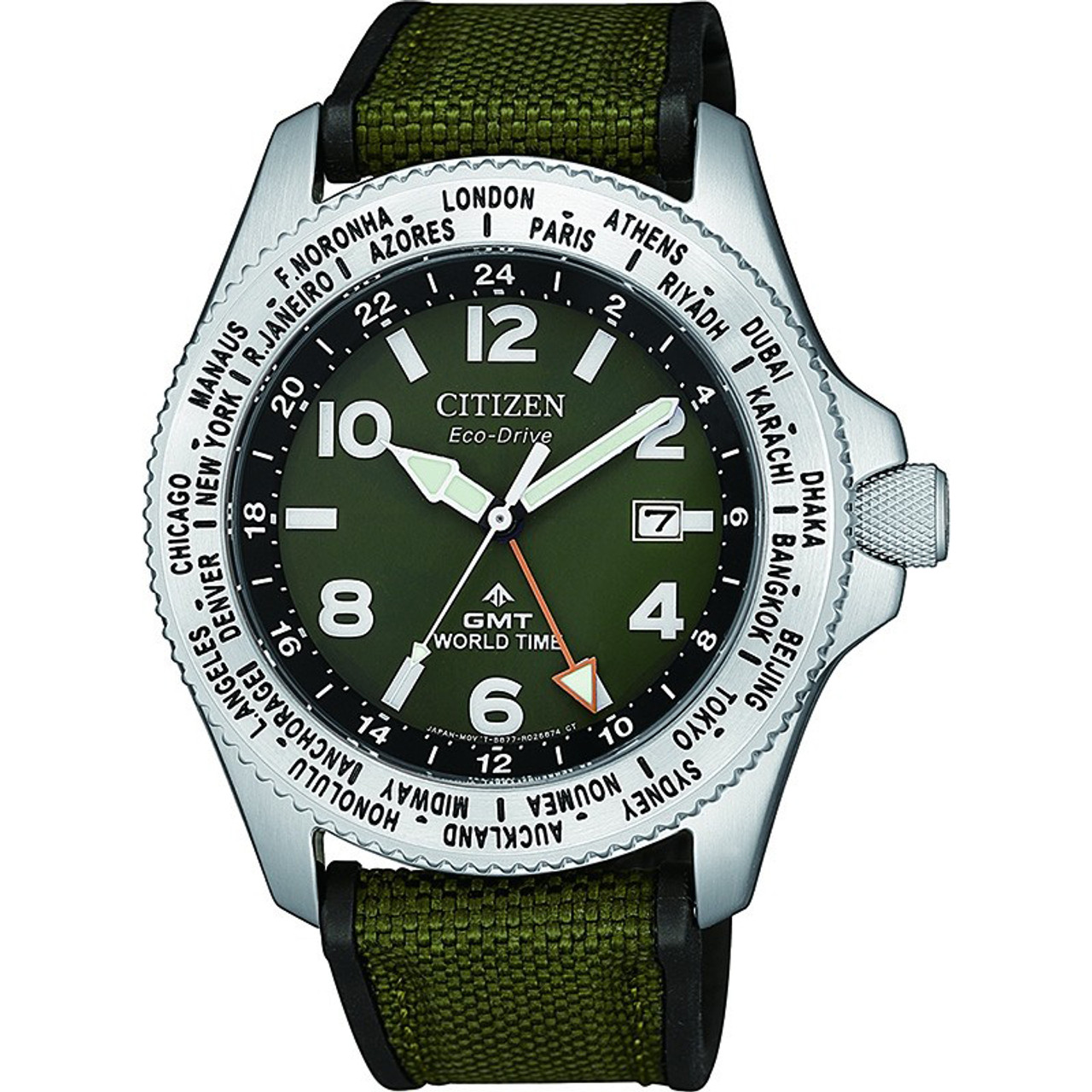 Citizen Men S Eco Drive Promaster Gmt World Time Green Canvas Strap Watch Bj7100 23x