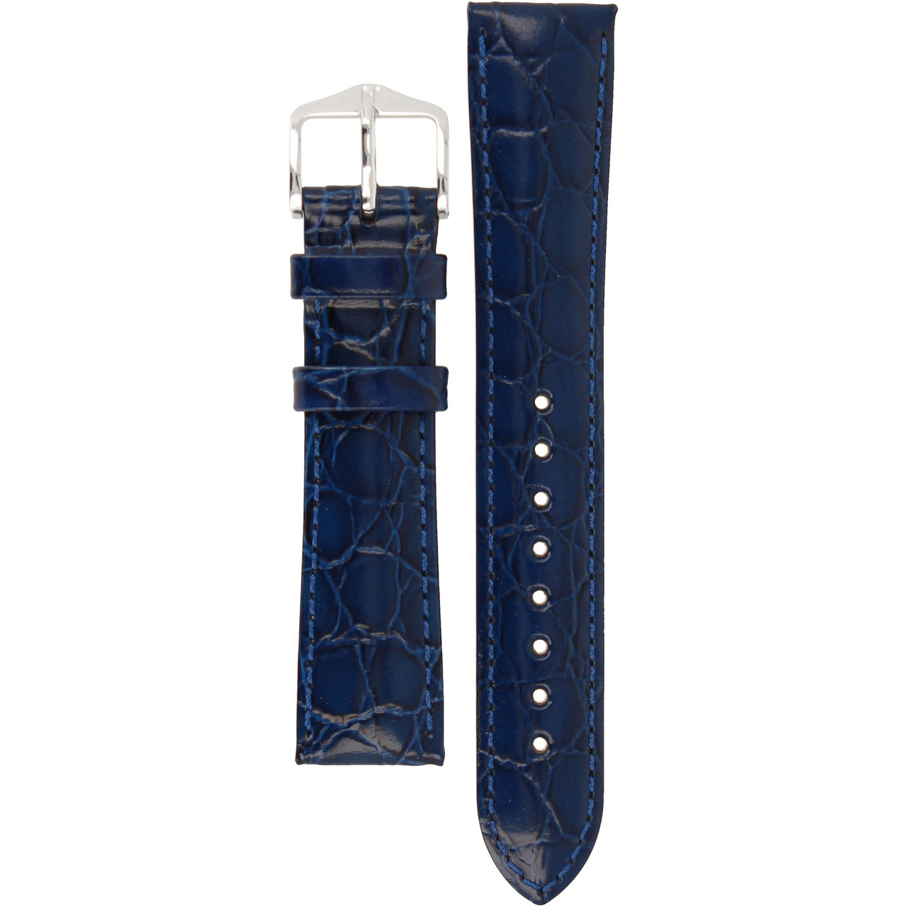 501736e24 Hirsch Crocograin Replacement Watch Strap Blue Crocodile Embossed Leather  18mm