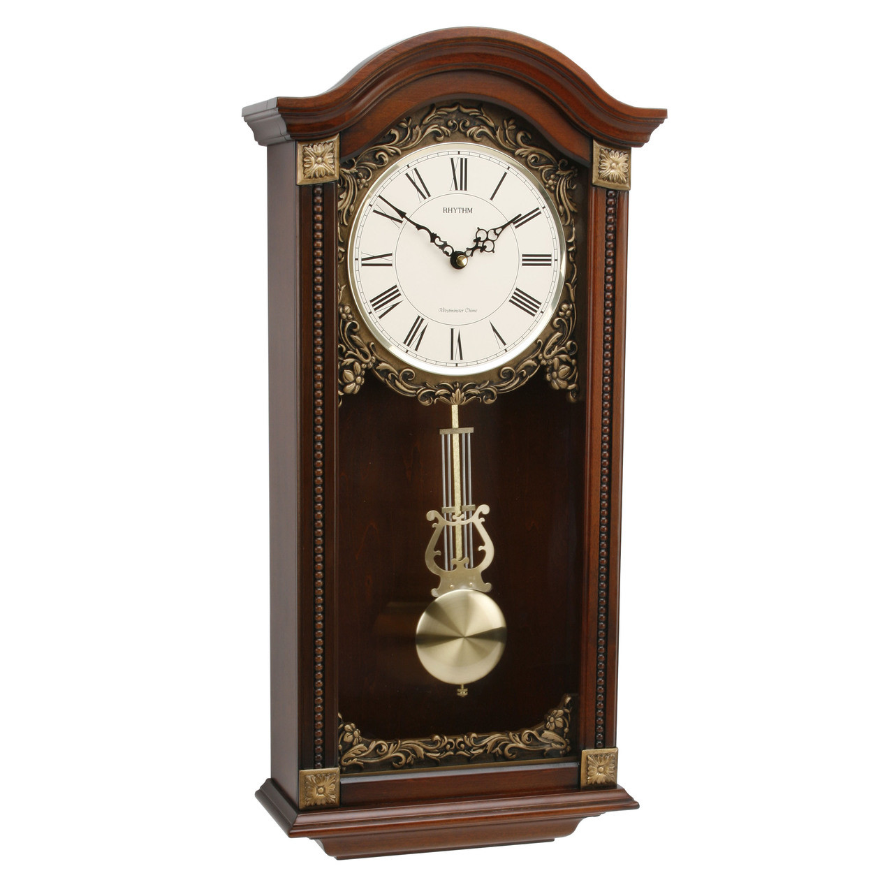 Rhythm Wood Pendulum Wall Clock Quartz Westminster Chime CMJ524NR06