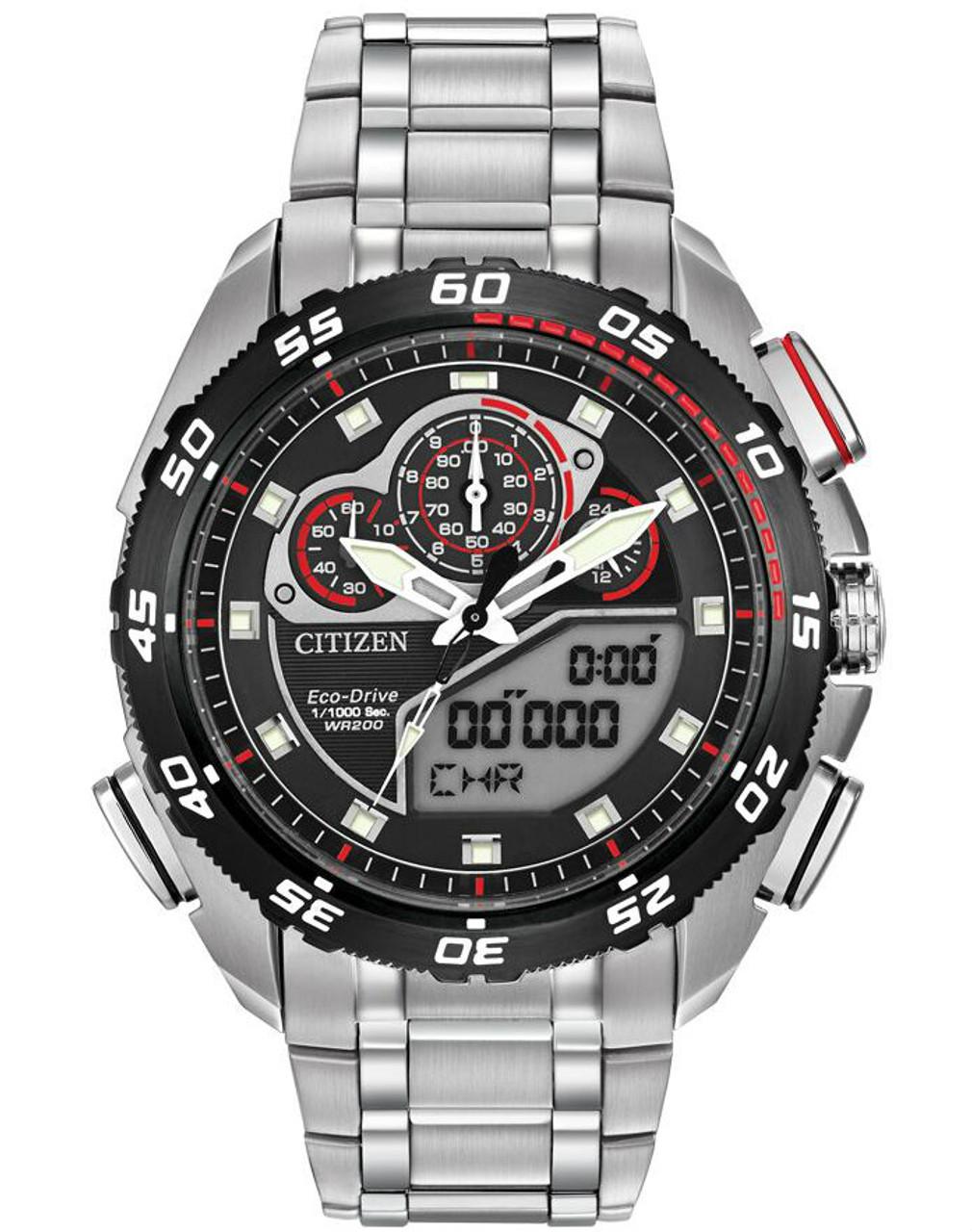 f33e280b5 Citizen Promaster JW0111-55E Men's Eco-Drive Racing Digital Sport Watch