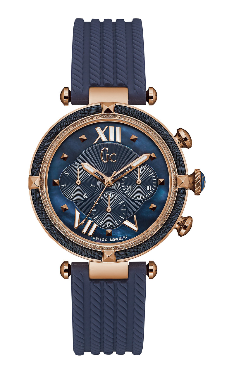 Gc Ladies Cablechic Blue And Rose Gold Watch Y16005L7