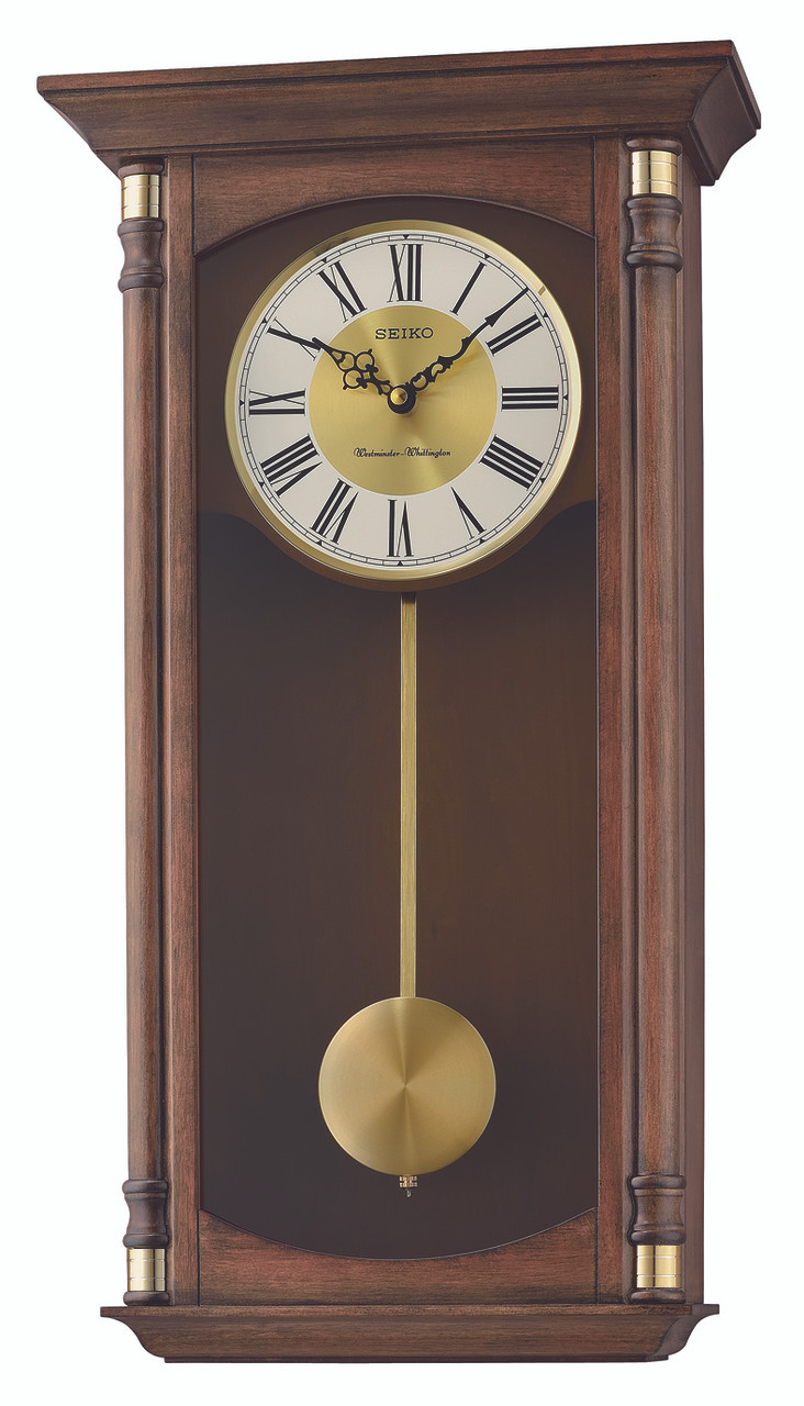 Seiko Westminster Chime And Whittington Chime Pendulum Wooden Wall Clock  QXH069B