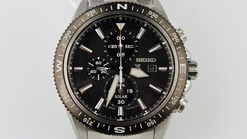 Seiko Men S Prospex Land Solar Chronograph Black Dial Silver Bracelet Watch Ssc705p1