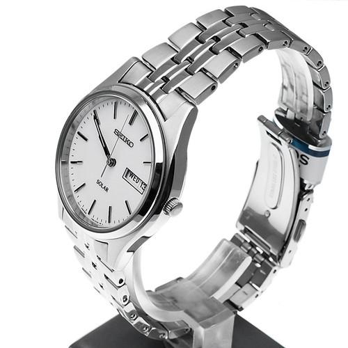 Seiko Mens Solar White Dial Watch SNE031P1