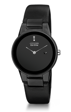 Citizen Axiom Unisex Black Leather Strap Eco Drive Watch