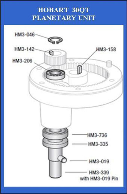 HM3-335   Hobart 30Qt  Planetary Agitator Bottom Seal   110335
