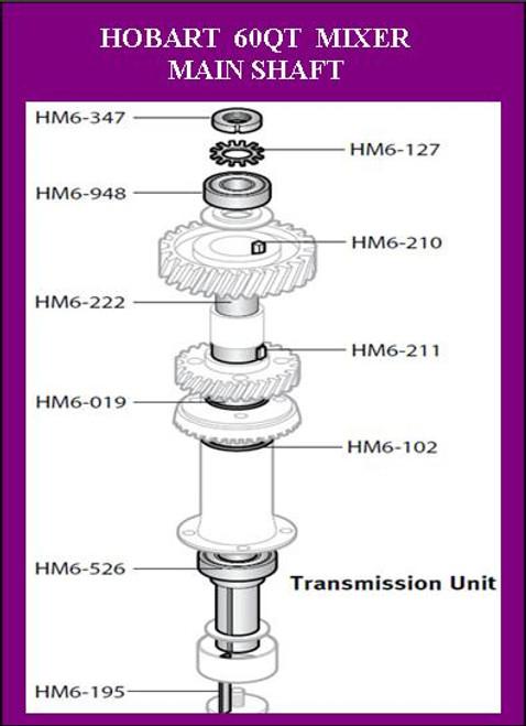 HM6-127 Hobart 60Qt Planetary Shaft Lock Nut Lock Washer   WL-12-7