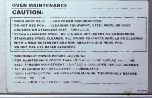 Lincoln Maintenance Label 370033