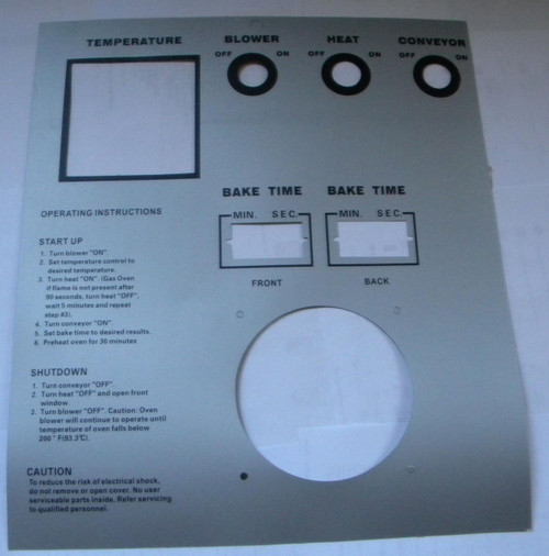 Middleby PS570S Silver Control Label 22505-0065