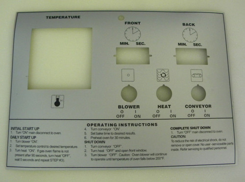 Middleby PS555E-570 Silver Control Label 39464