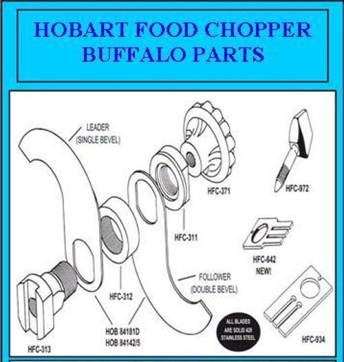 "Hobart Buffalo Chopper Closed End Stainless Knives 14""  71309"
