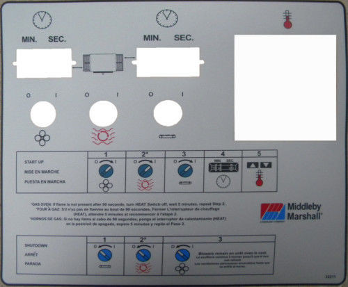Middleby PS360EWB Silver Control Label